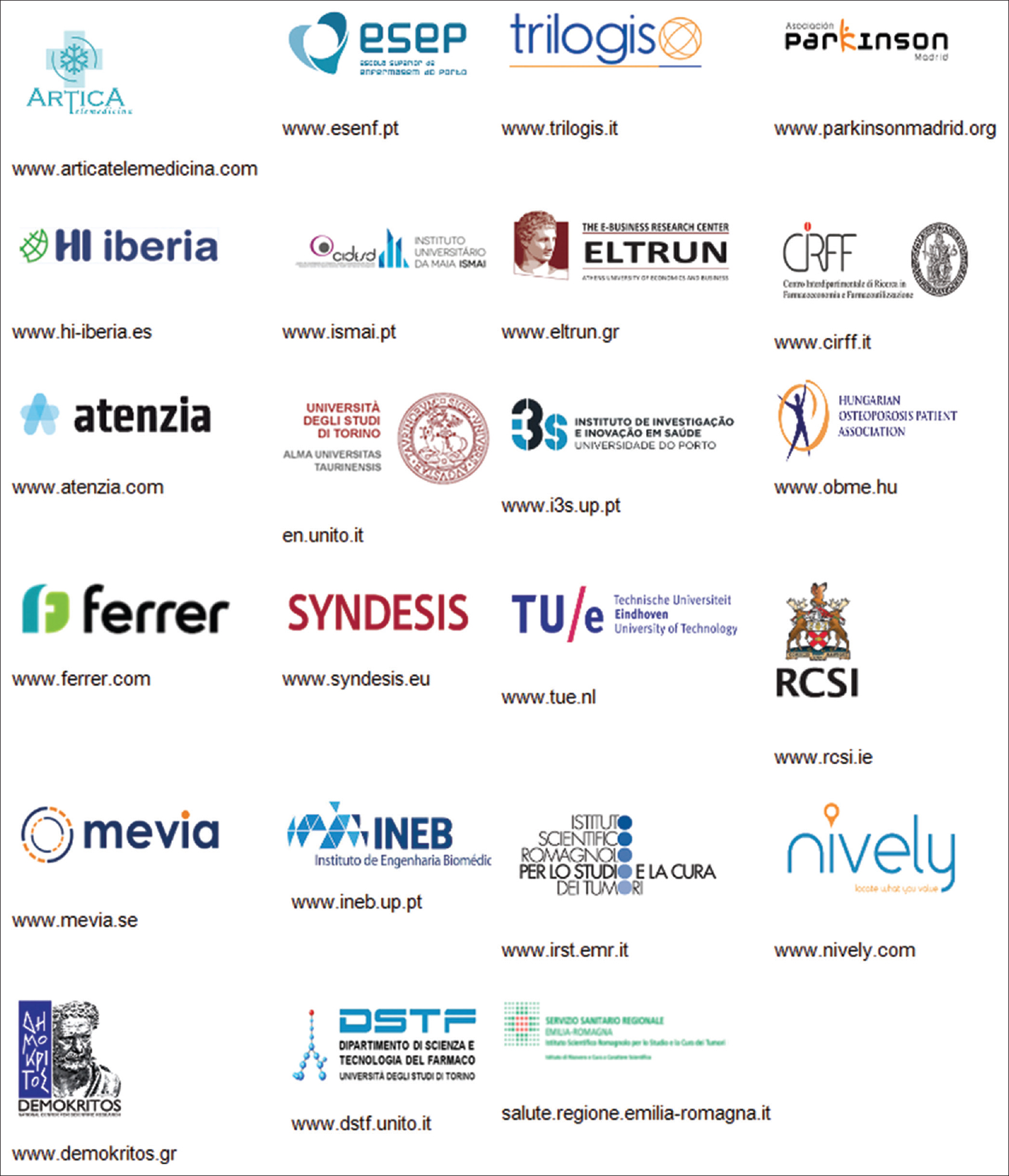 Figure 2: Indicative list of the Entities (universities, SMEs, Research Centers) that are actively participating in the A1 Synergy Group. The A1 Synergy group has been established to study common ICT and integrated care topics between A1, B3, C2, A2 and A3 action groups. The A1 Synergy activities aim to harness the collected data from relevant running pilots and from data sets from the above EIP on AHA action groups as well as from global best practices and results from specialized workshops. Its general objective is to study if the role of integrated information systems that connect patient with health care professionals, pharmacists and other stakeholders can boost adherence to old age people in long-term therapies and polypharmacy