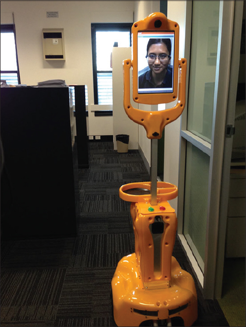 Figure 3: Picture of remote young Caregiver on Giraff as seen by the elderly in Australia